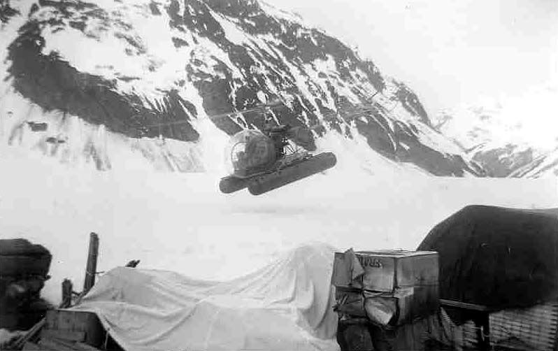 Early Helicoper fyling into Granduc Property 1953