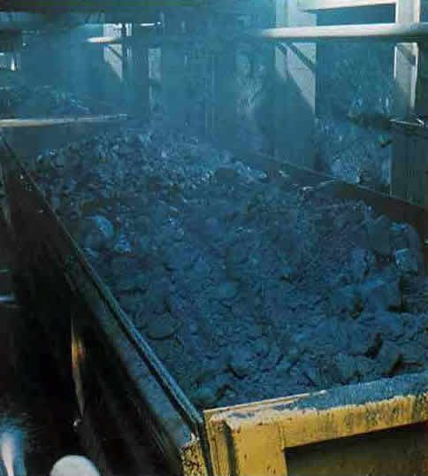 Copper ore being hauled to the crusher
